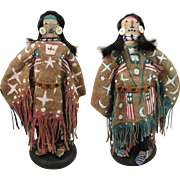 Mid 1900s American Plains Indian Double Face Doll 12 inches