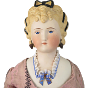 1870s Kling Parian Bisque Fancy Hair Doll 23 inches