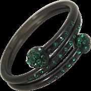 Vintage Black Plastic Spiral Bracelet with Green Rhinestones