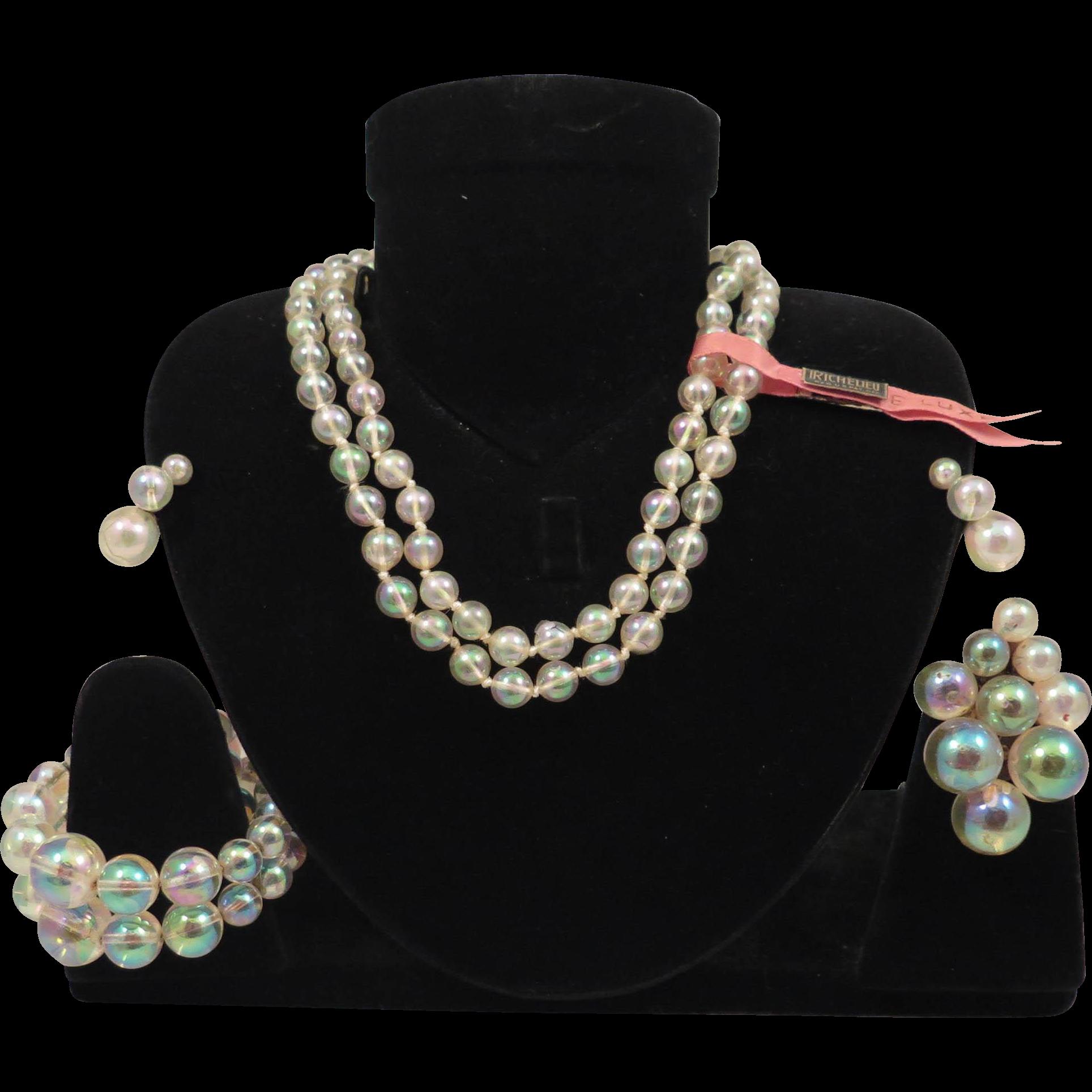 Vintage Bubble Parure Set Necklace, Earrings, Bracelet, Clip Richelieu Iridelle