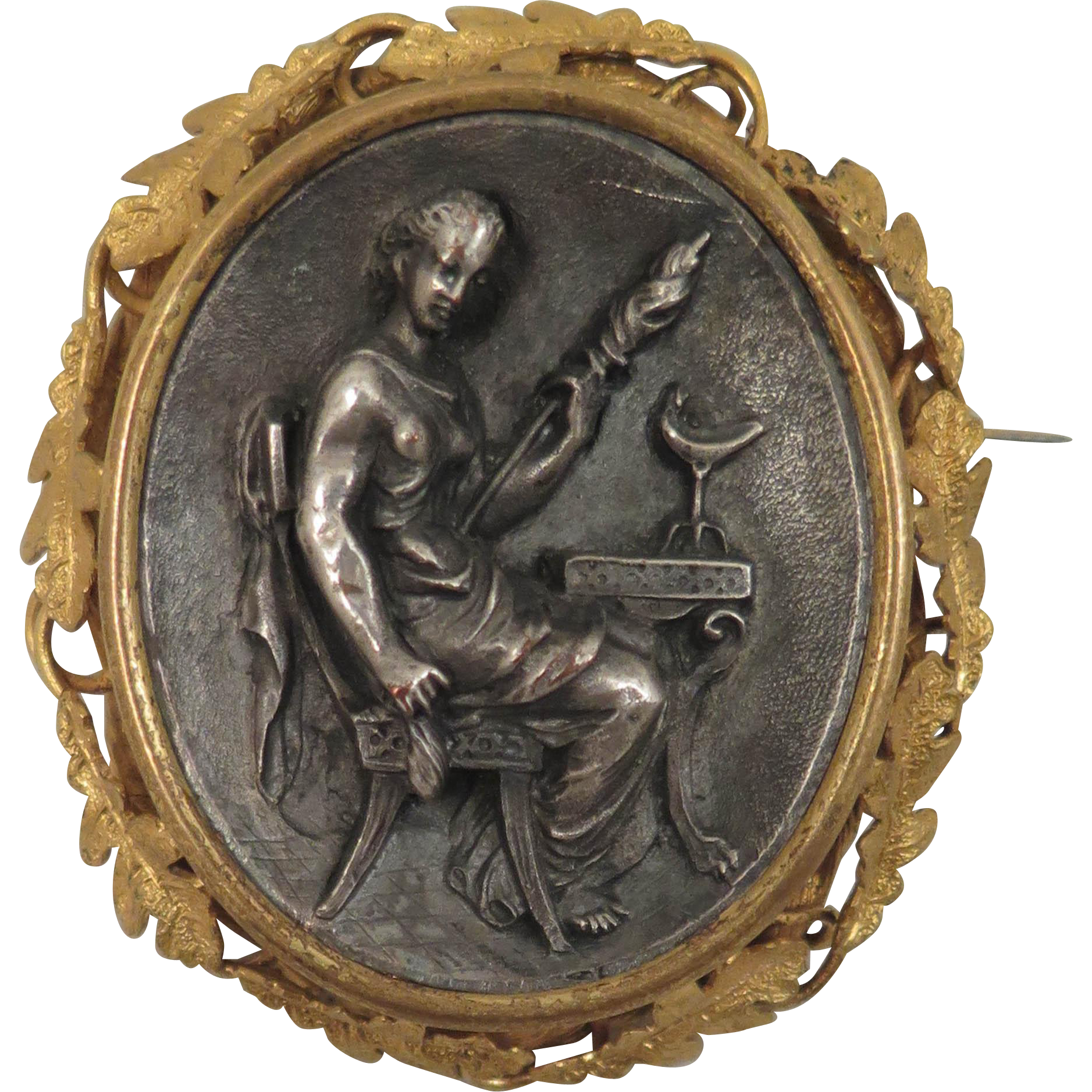 Victorian Cameo Brooch of the Fate Clotho Spinning the Thread of Life