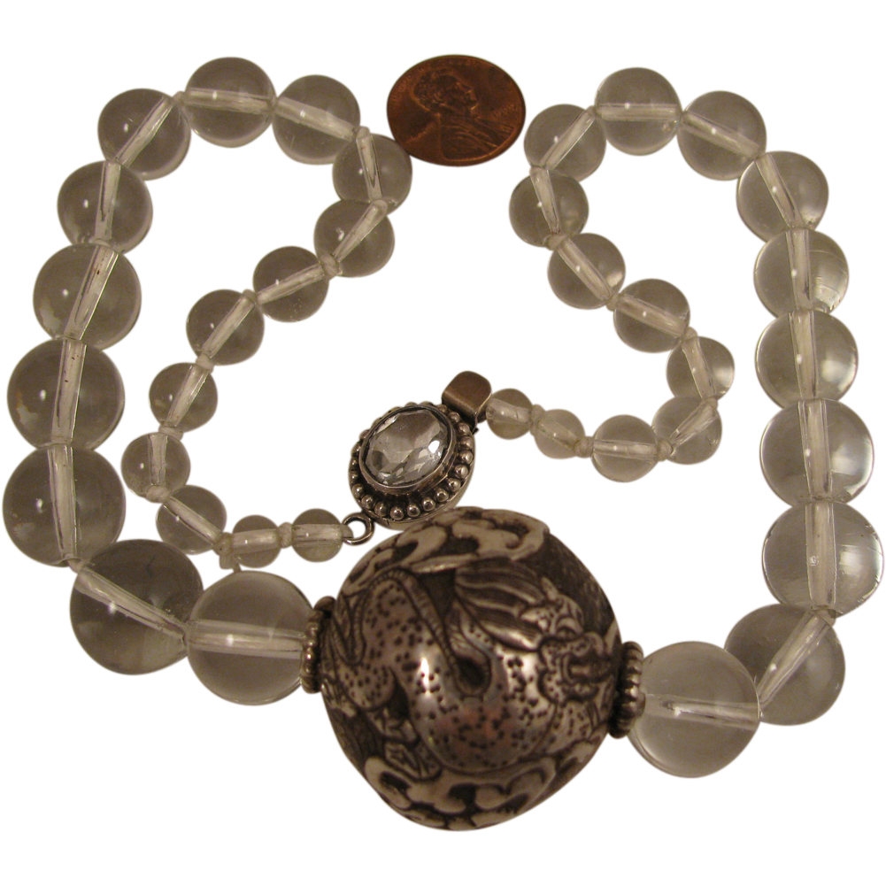 Antique Chinese 800 Silver Dragon and Pool of Light Crystal Bead Necklace