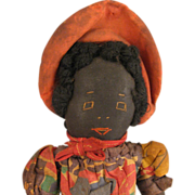 8 inch c.1920s-30s Home Made Black Cloth Girl Doll