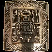 Vintage 900 Silver Peru Aztec God Brooch
