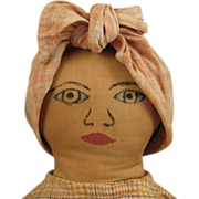 16 inch Ethnic Black Home Made Cloth Doll with Drawn Face
