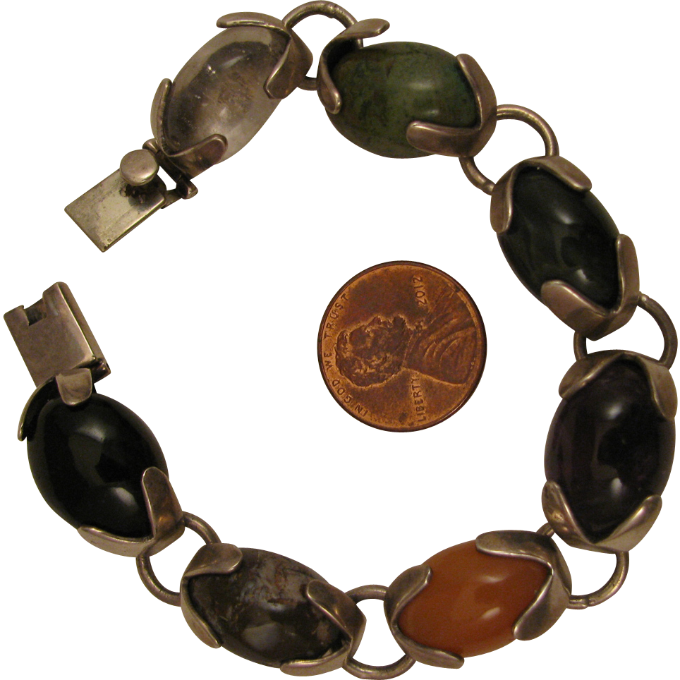 Vintage Mexican Taxco Sterling Silver Agate Bracelet