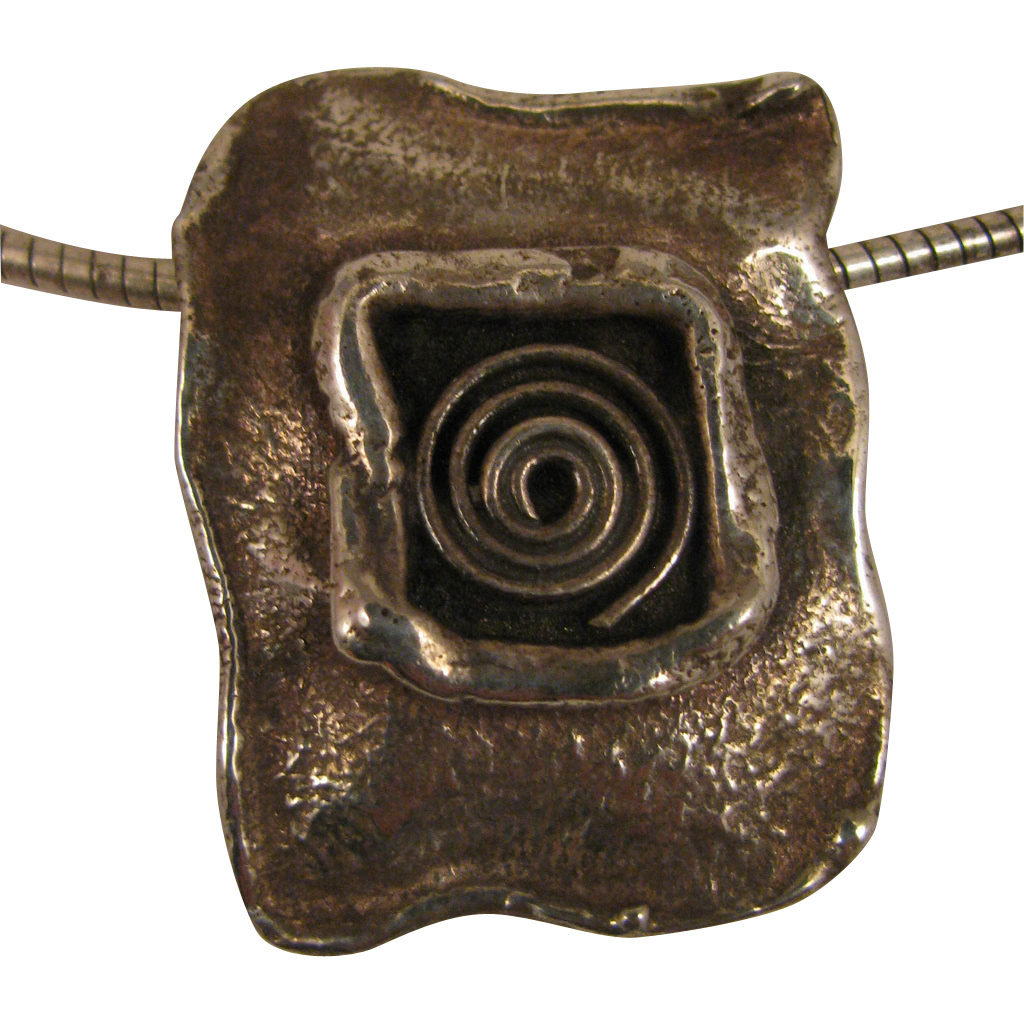 1980s Vintage Sterling Silver Abstract Pendant Necklace