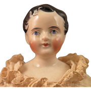 8 inch Antique French China Doll on Kid Body