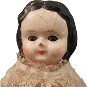 1870s Wax Over Composition Sleep Eye Doll with Original Body 11 Inch