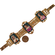 Georgian Gilded Bracelet with Porcelain Plaques of Ladies