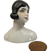 1920s German China Flapper Doll Head Bust