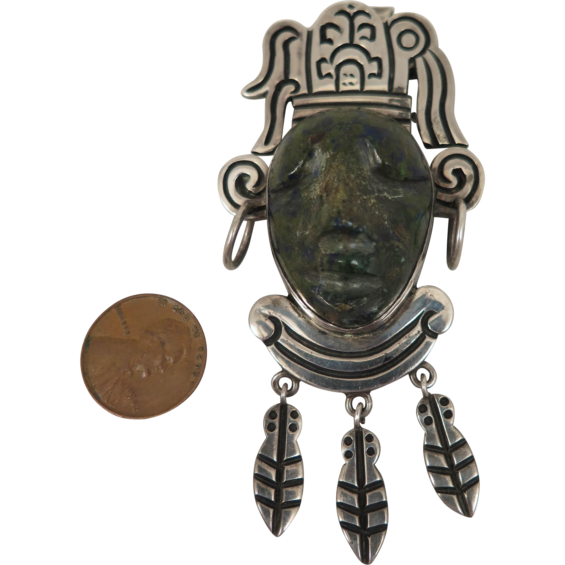 1950s Mexican Sterling Silver Aztec Face Pendant Brooch