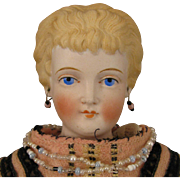 17 inch Antique German Conta Boehme Fancy Hair Parian Bisque Doll
