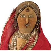 "13"" Antique Cloth Bride Doll From India"