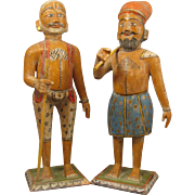 "Pair 12"" Antique Carved Wood Men Doll Figures from India"