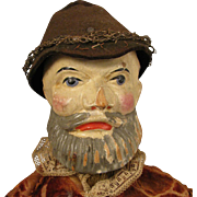 19th c. Jointed Wood Man Puppet Doll 16""