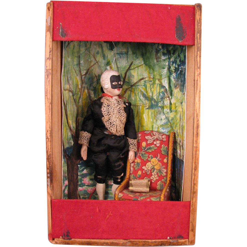 Phantom of the Opera Puppet Doll in Box Vignette Early 1900s