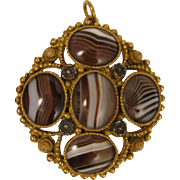 Antique Etruscan Revival Gilded Memorial Pendant Locket w/ Banded Agate