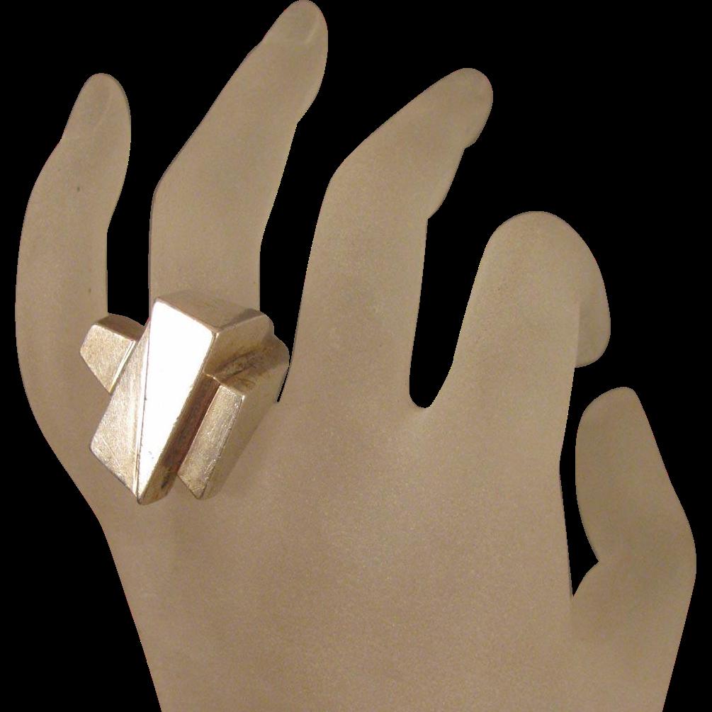 Vintage Brutalist Sterling Ring Size 7