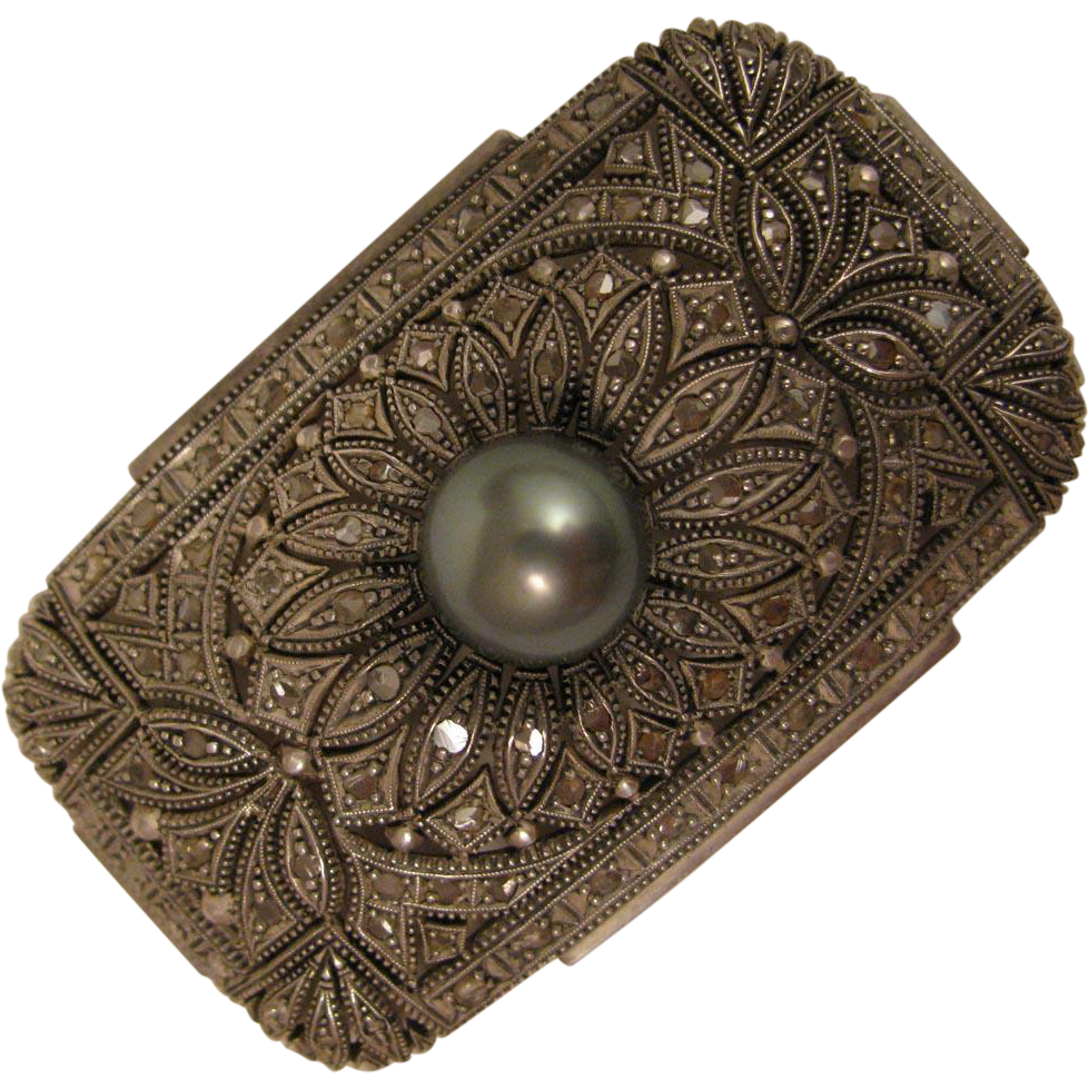 Art Deco Diamond and Cultured Pearl Brooch c.1930s