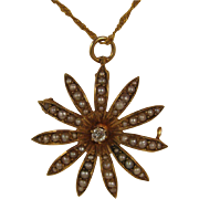 Antique 14K Diamond & Seed Pearl Flower Pendant + 22K Necklace