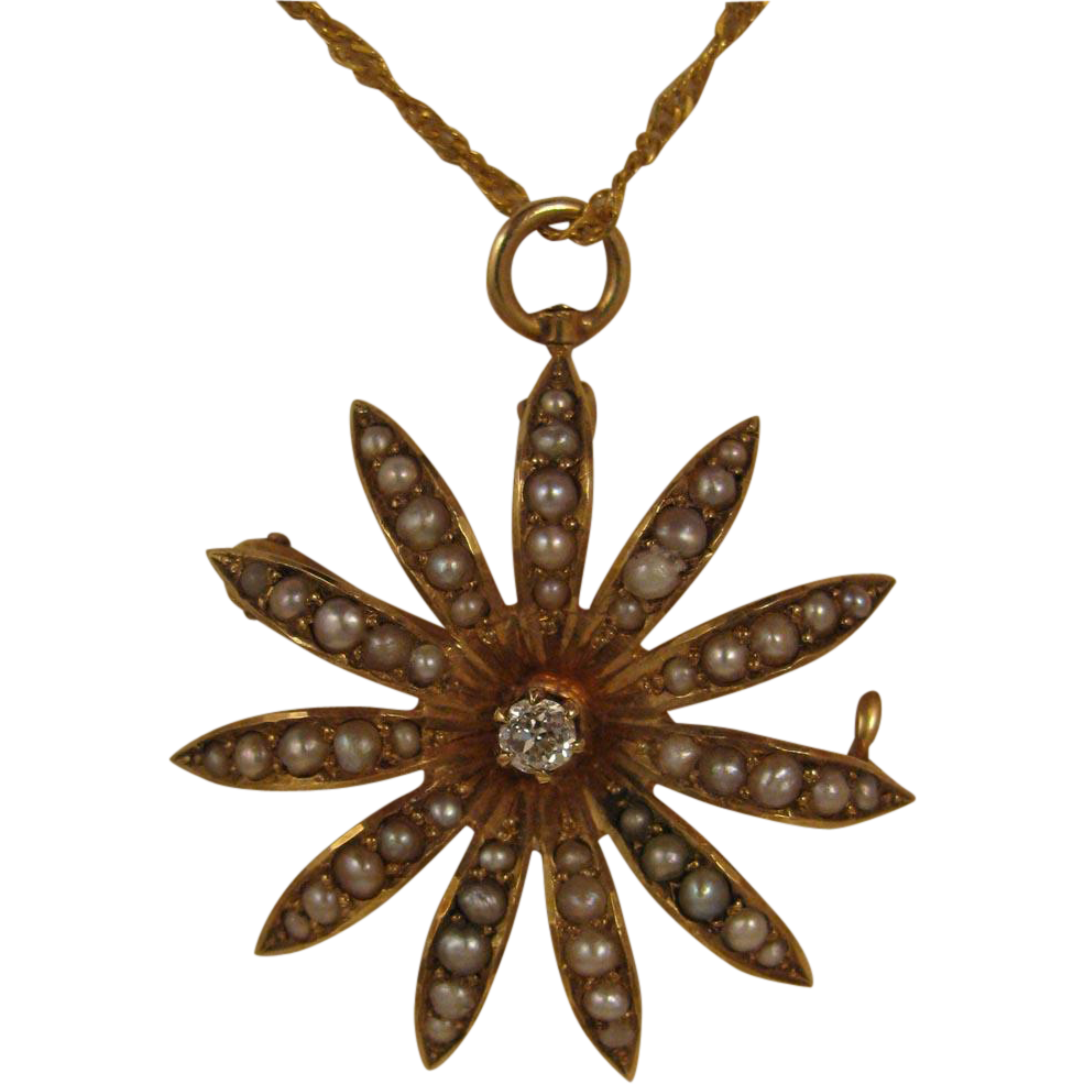Antique 14K Diamond and Seed Pearl Flower Pendant + 22K Necklace