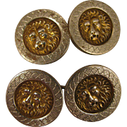 Antique 800 Silver Mans Lion Cufflinks