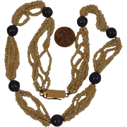 Vintage Seed Pearl & Lapis Necklace w/ 14K Clasp