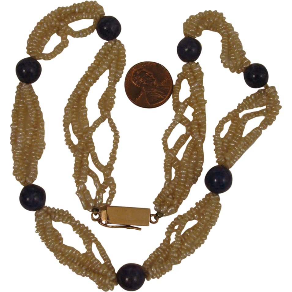 Vintage Seed Pearl and Lapis Necklace with 14K Clasp