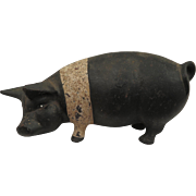 Large Early 1900s Cast Iron Pig Bank