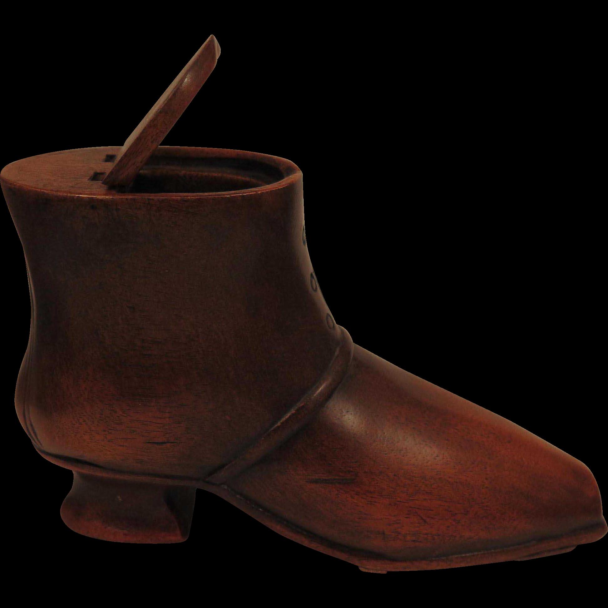 Antique Wood Shoe Snuff Box