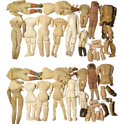 10 Antique Doll Bodies Plus Parts