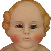 1860s German ABG Glass Eyed Blond Bisque Doll 26 inch