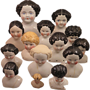 Study Set of 14 Damaged China Doll Heads