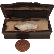 Antique 1 inch Frozen Charlotte in Casket Box Doll House Funeral