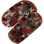 Vintage Confetti Clamper Bracelet Red White Blue