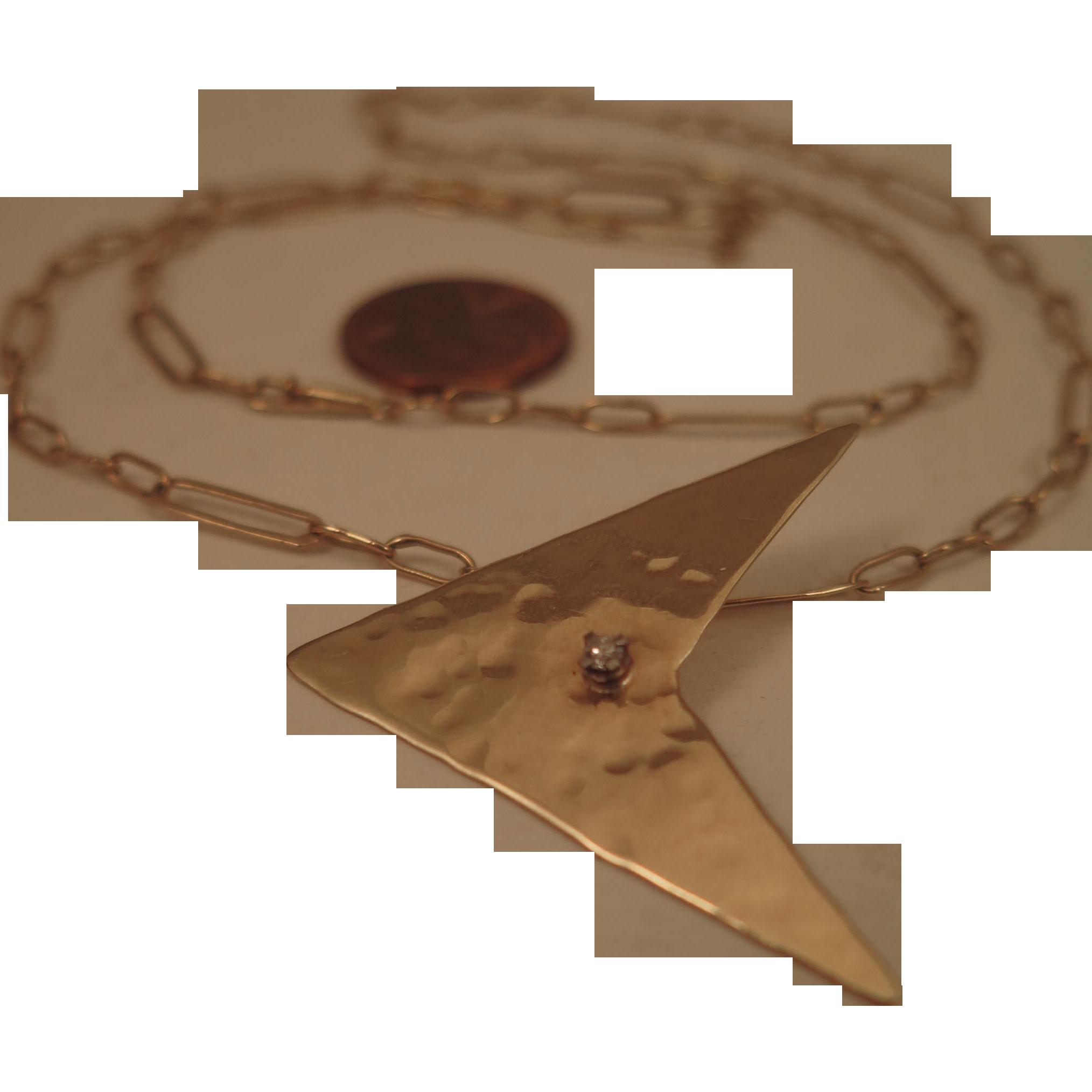 Vintage 14K Diamond Pendant on 18K Gold Necklace Chain