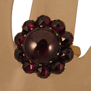 Antique 8K Garnet Rosette Ring Size 7.5