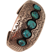 Vintage Navajo Sterling Silver Turquoise Cuff Bracelet P. Benally