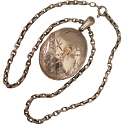 Victorian Sterling Silver Locket Pendant and Chain