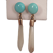 Antique Mississippi River Pearl and Turquoise Earrings 10K