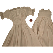 Mid 1800s Long Dress and Slip for Doll