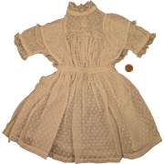 Antique White Dotted Swiss Dress for Bisque Doll 18 to 20 inches