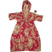 Antique Hand Stitched Red Paisley Robe for 12 inch Doll