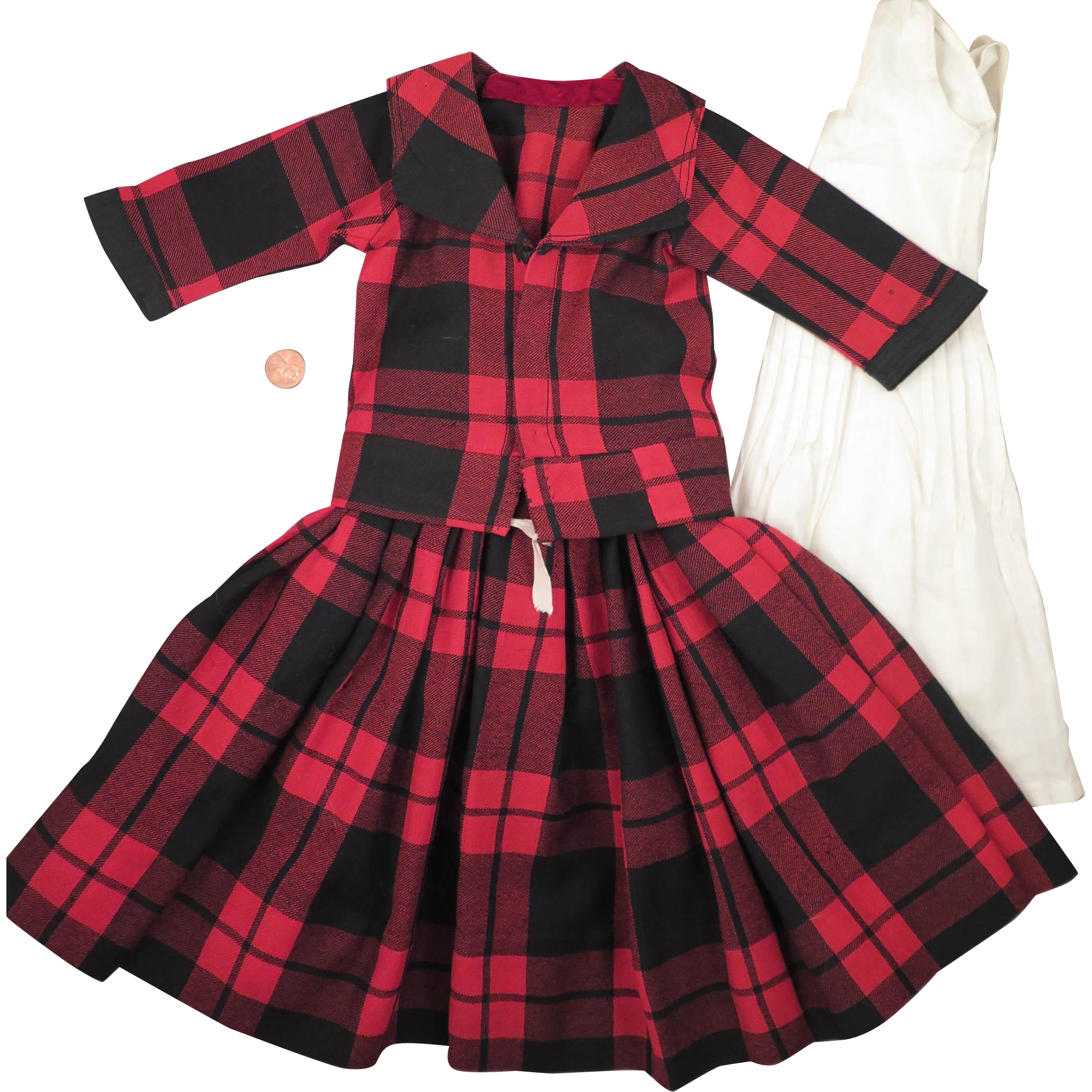 Antique Red Wool Plaid Dress Set for 23 to 24 inch Doll