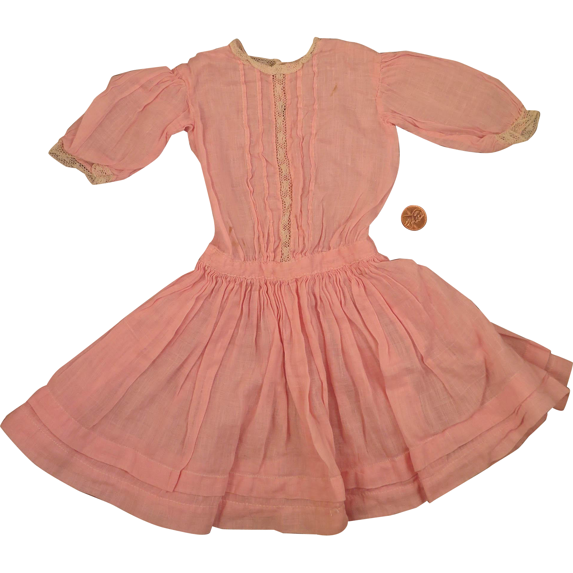 Antique Commericial Pink Cotton Dress for 17 to 18 inch Doll