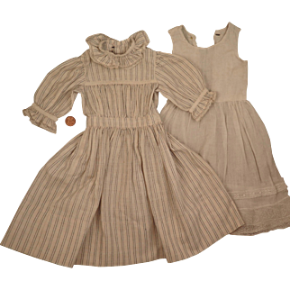 Antique Striped Cotton Dress and Slip for 20 to 22 inch Doll