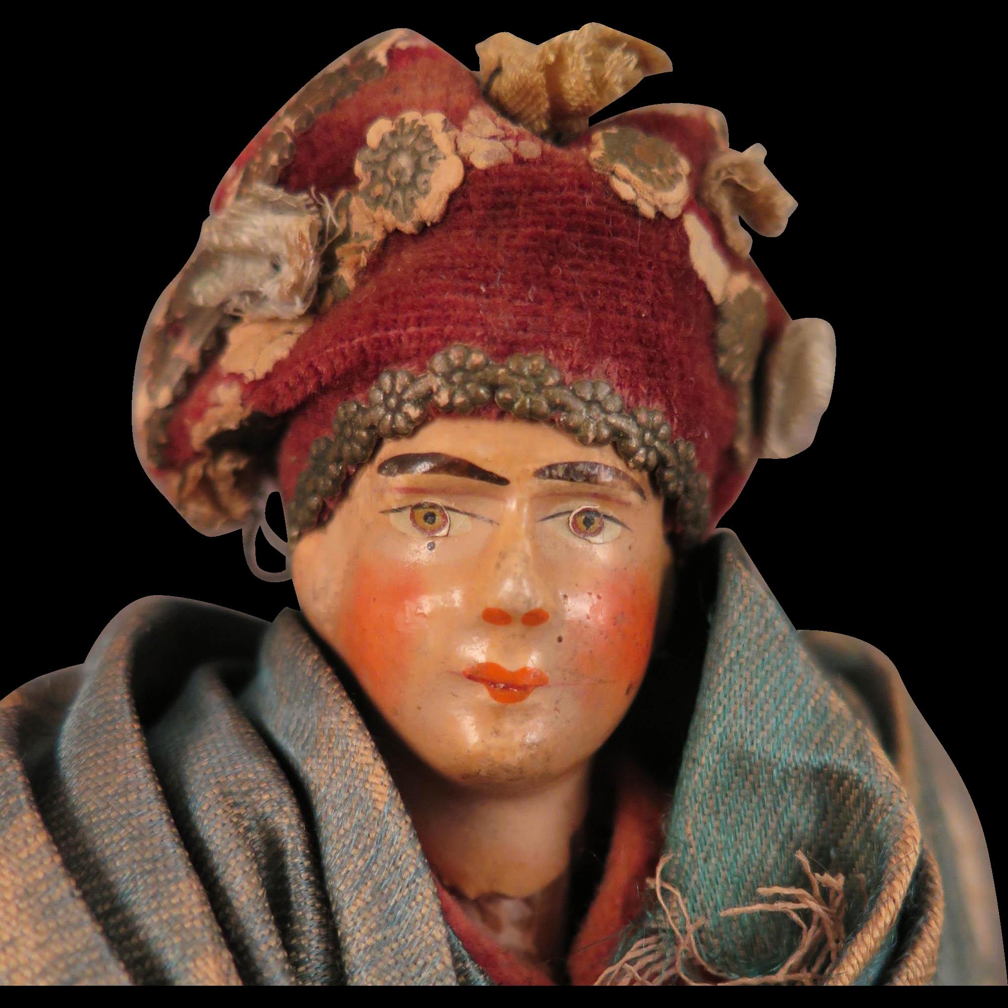 Antique Italian Terra Cotta Doll 9 inch