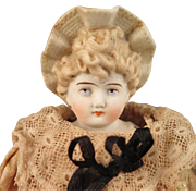 Hertwig Bisque Bonnet Doll 10.5 inch