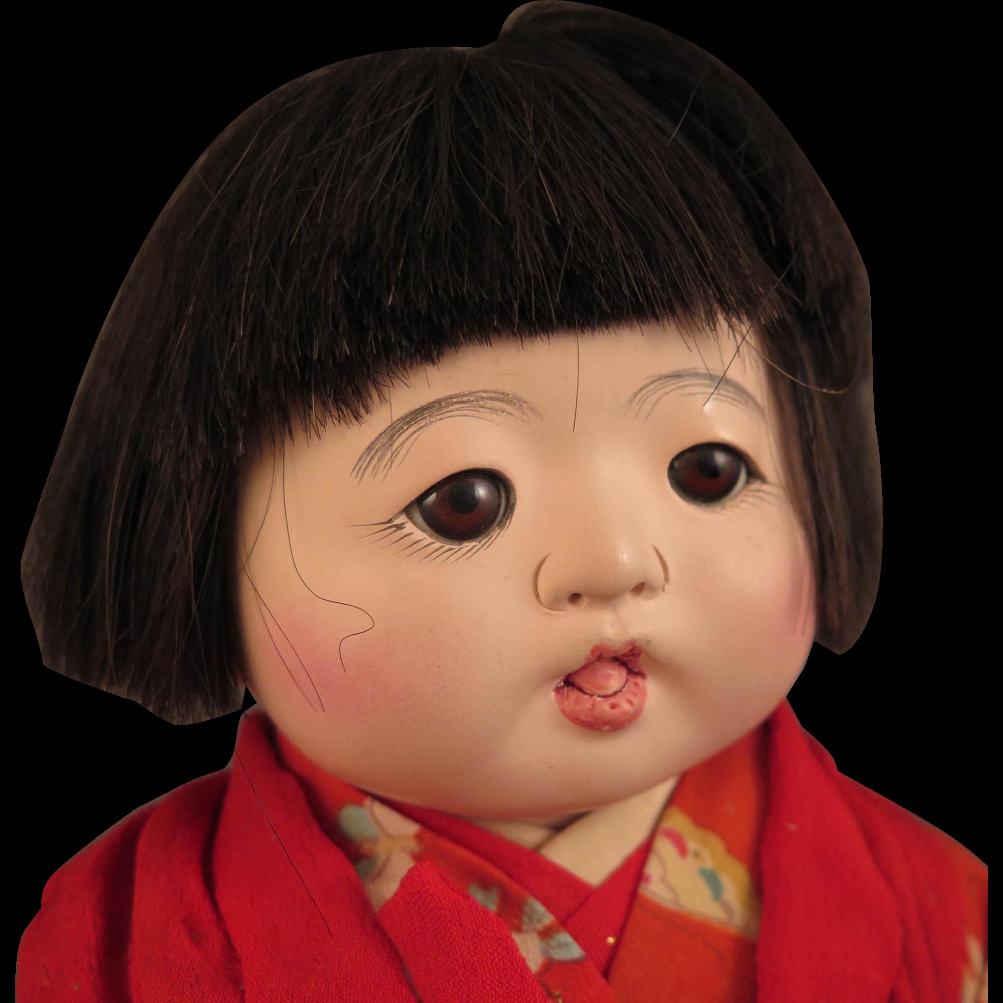 Vintage Japanese Gofun Baby Doll 13 inch